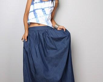 Denim Skirt / Maxi Skirt /  Dark Blue Denim Skirt : The Denim Collection