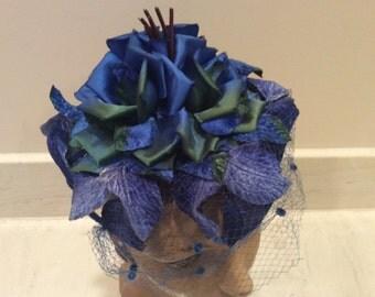 Vintage Regal Royal Blue Velvet and Ribbon Rose Flowered Hat with Net Veil , Vintage Hat, Vintage Millinery, Vintage Silk Flowers
