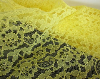 Vintage Yellow Nylon Floral Lace Fabric, Doll Clothes Fabric,Vintage Lace Material, Vintage Textiles