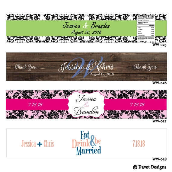 150 Custom Glossy Waterproof Wedding Water Bottle stickers - hundreds of designs to choose from - change designs to any color or wording