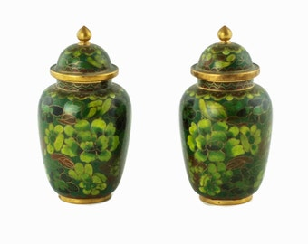 Vintage Pair of Miniature Chinese Cloisonne Lidded Urns