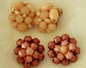 Vintage Costume Earrings - Two(2) Pair of Clip On Earrings - Dark Blush Pink Geo Bead and Rich Melon Bead Jewelry - 1960's Beaded Jewellery