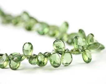 Valentines Sale Apatite Faceted Pear Briolettes 4 Apple Green Semi Precious Gemstones