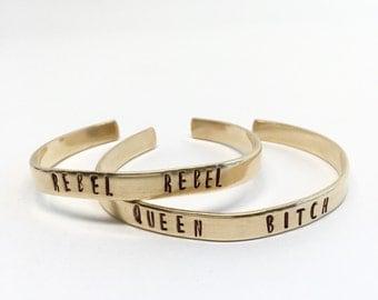 Queen Bitch Cuff Bracelet - Brass or Copper, David Bowie, Music Gypsy Bohemian Monogram Gift, Stamped Custom Personalized Word Handmade Punk