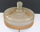Large Glass Vanity Jar Gilt Brass Filigree Satin Glass Round Dresser Box Ormolu Art Deco Vintage 1930s Jewelry Box