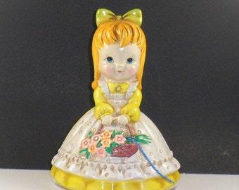 Sale Flower Girl String Holder Ceramic Josef Originals Lorrie Designs Japan Vintage 1950s Countertop