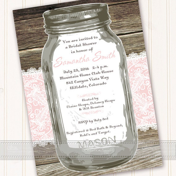 bridal shower invitation, rose quartz bridal shower invitations, mason jar bridal shower invitations, rose quartz bridal shower, IN491