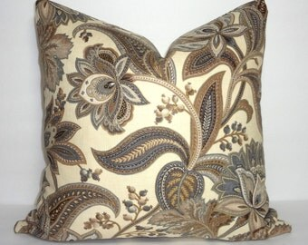 Grey Brown & Tan Floral Paisley Print Pillow Covers Decorative Throw Pillow Covers Large Floral Print Pillow Covers 18x18