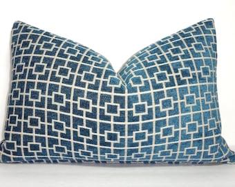Teal Blue Geometric Print Velvet flocked Decorative Lumbar Pillow Cover Teal Cats Cradle Pillow Cover Choose Size