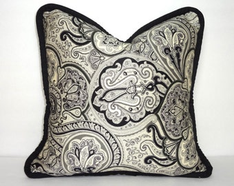 Waverly Paddock Shawl Onyx Black/Grey Bold Paisley Print Pillow Cover Decorative Throw Pillow Cover Size 16x16