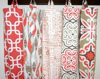 Plastic Bag Holder Grocery Bag Storage Kitchen Bag Storage Orange Coral Geometric Feather Newspaper Storage Bag Holder