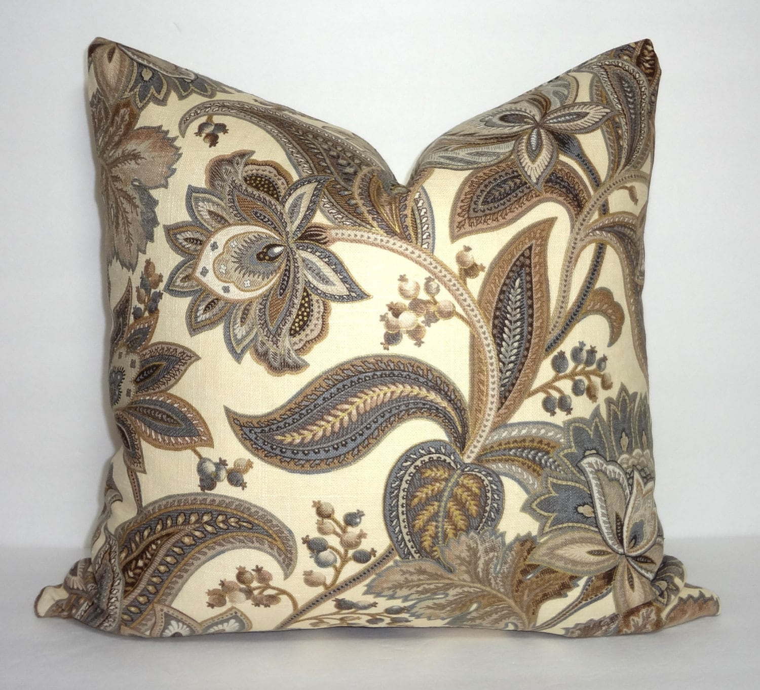 grey brown tan floral paisley print pillow covers decorative. Black Bedroom Furniture Sets. Home Design Ideas