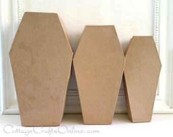 Halloween Coffin Paper Mache Set of Three,  Darice,  Day of the Dead, Halloween Decor, Wreath & Craft Supply
