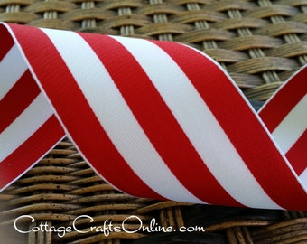 """Wired Ribbon, 2 1/2"""" , Red and White Stripe - THREE YARDS - Offray """"Carnival Red"""", Grosgrain Style Valentine, Christmas Wire Edged Ribbon"""