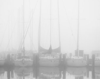Foggy Harbor, New Orleans, Louisiana, Boat Harbor, Foggy Weather, Black and White Photography