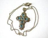 Vintage Sterling Filigree Cross Pendant, Blue Topaz Glass Cross Necklace, sterling chain, Excellent