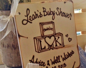 Handmade Baby Shower Guest Book Rutic Shabby Chic Personalized Wood Burning