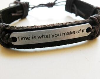 genuine darkbrown leather bracelet with silvertag