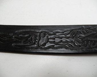 mens tooled  leather belt, Dragon
