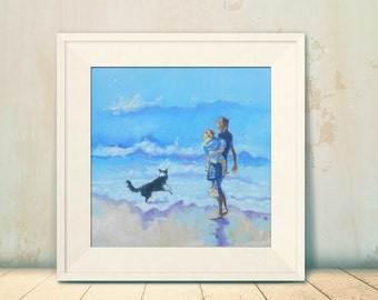 """12"""" x 12"""" Art Print of my Original Oil Painting. """"Stroll Along the Beach"""" Mother and Child with Border Collie. Giclee Print."""