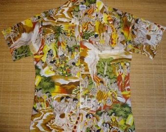 Mens Vintage 70s Sun Deck Hawaiian Life Aloha Shirt - M - The Hana Shirt Co