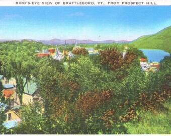 Brattleboro, Vermont, Prospect Hill - Linen Postcard - Unused (A6)