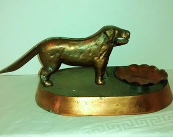 Art Deco , Cast Iron Copper Dog Nutcracker , 1930 , copper dish