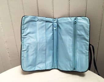 Vintage 1970s Navy & Baby Blue Lined Cosmetics Pouch/Bag