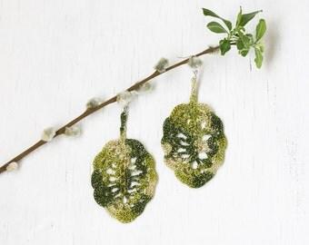 Crochet leaf earrings Statement jewelry Big dangle earrings