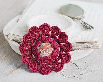 SALE Burgundy flower crochet brooch Fiber art Fabric jewelry Vintage inspired Summmer fashion Boho chic accessory Unique gift