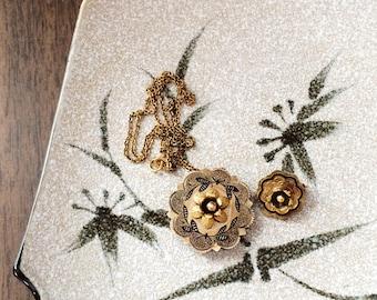 Antique Victorian Pendant and Brooch & Chain // Vintage 12k GF Black Enamel Jewelry //