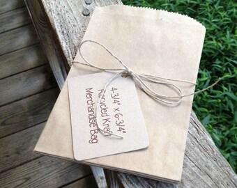 """250 Each • 4-3/4"""" x 6-3/4""""  Recycled Kraft Flat Merchandise Bags • Treat Bags • Candy Bags • Loot Bags • Weddings • Printed Back • Gift Bags"""