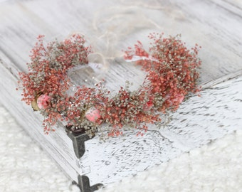 New Born Tie Back Dried Baby's Breath Crown, New Born Halo, Photography Prop