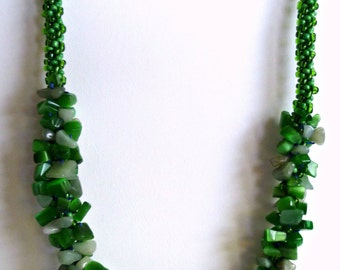 "Beaded Kumihimo chip cluster necklace, chunky necklace ""Irish Memories"", statement necklace"