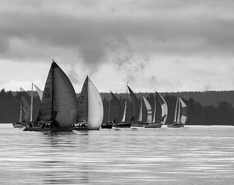Sailboats photo, on the Puget sound in black & white, home decor, wall decor, nautical decor, seascape