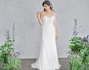 Simple Mermaid Wedding Dress, Silk Wedding Dress, Strapless Sweetheart Neckline, Eco Friendly, Wedding dress, Low back, Strapless, Bridal
