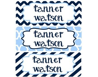 Name Labels, Baby Bottle Labels, Daycare Labels, Waterproof Name Labels, School Name Labels, Waterproof, Boy, Baby Blue, Navy Blue, Chevron
