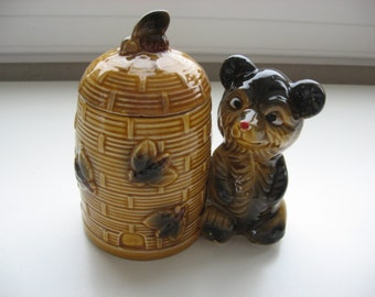 Vintage Beehive with Bear Honey Pot//Collectible Retro Serving Piece//Great Gift Idea