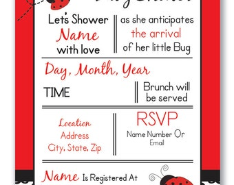 Customizable Lady Bug Baby Shower Invitation - [Digital File ONLY]