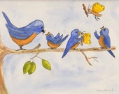 Whimsical Bluebird Family, original,Robin Arnold, bird,wildlife, nursery wall art,nature,wall art,bluebird,watercolor,pen and ink,nature