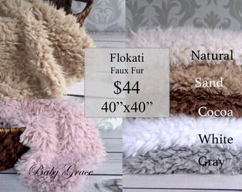 Faux Fur Flokati, Large 40x40 Photo Backdrop Size, Newborn Photo Prop, Faux Fur Fabric, Faux Flokati, Photography Prop Posing Blanket Fur