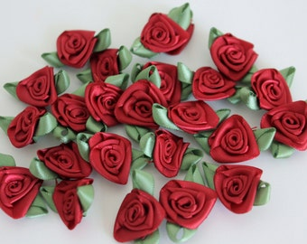 Satin Ribbon Roses - Wine with Moss Green Leaves