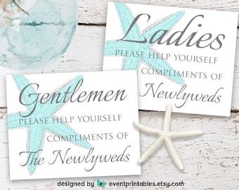 Wedding Restroom Printable, Ladies Mens Bathroom Sign, Aqua Starfish Beach Wedding Bathroom Basket, DIGITAL DOWNLOAD by Event Printables
