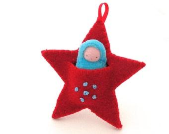 Star ornament // pocket doll // baby's first Christmas // waldorf decor // advent calendar // Christmas star // felt ornament //  SO-R1q