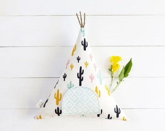 Tooth Fairy Pillow, Cactus, Tooth Fairy Pillow Teepee, Tooth Fairy,  Boho Kids, Kids Teepee, Kids Toy, Stuffed Toy, Tipi, Kids Decor