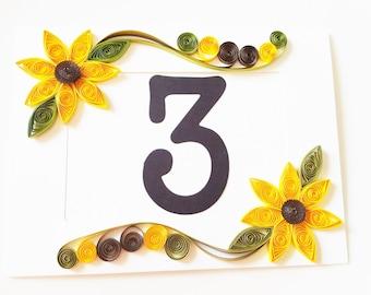 Wedding Table Number, Fall Wedding Decor, Yellow Wedding Decor, Sunflower Wedding Decor