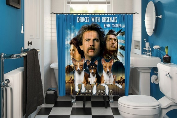 Basenji Art Shower Curtain, Dog Shower Curtains, Bathroom Decor - Dances with Wolves Movie Poster by Nobility Dogs