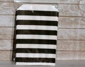 Black and white horizontal popcorn bags, Black and white horizontal stripe candy bags, loot bags in black and white