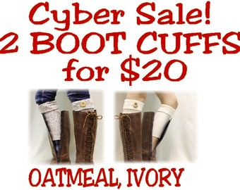 2 piece set  ASPEN CUFFS oatmeal, ivory knit  Boot cuffs boot toppers mini leg warmers boot socks womens socks for boots by Catherine Cole