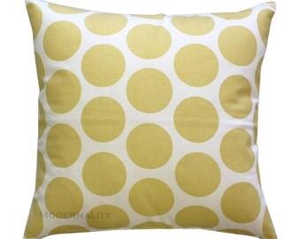 Yellow Throw Pillows, Dandie Dot Saffron Pillow Cover, Polka Dot Pillow, Zippered Pillow, Cushion Cover, Decorative Pillow, Large Dots